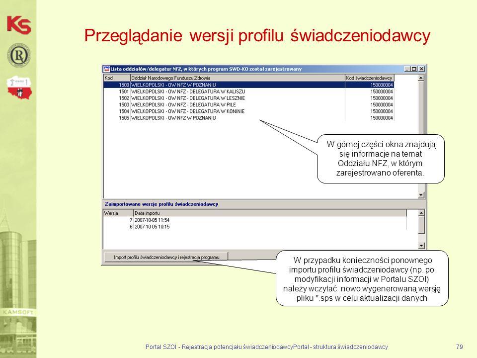 Przeglądanie wersji profilu świadczeniodawcy