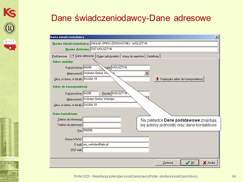 Dane świadczeniodawcy-Dane adresowe