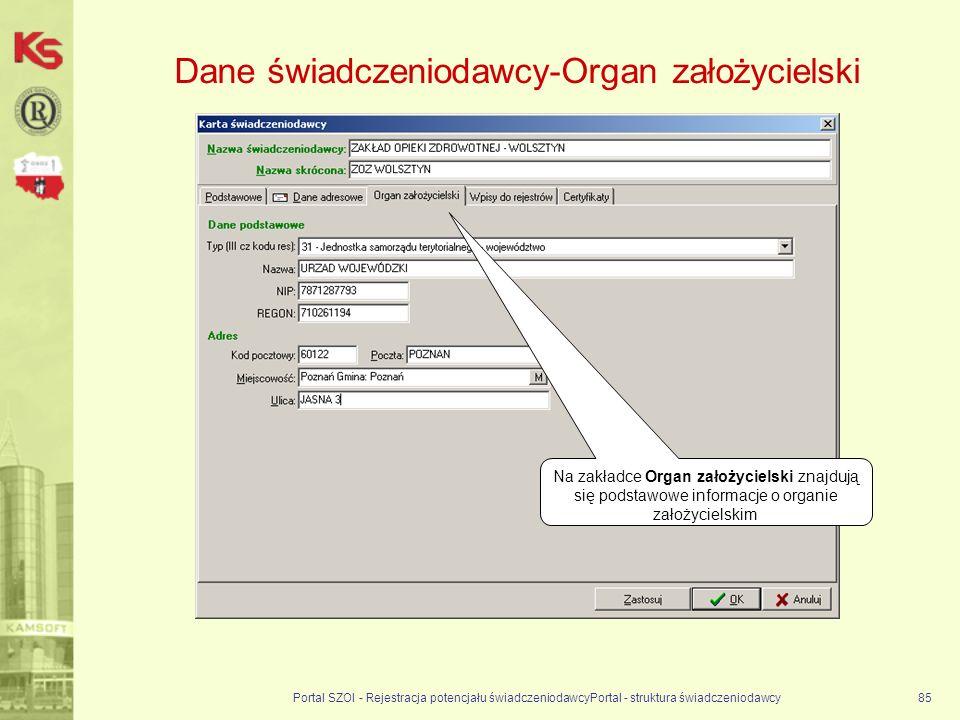 Dane świadczeniodawcy-Organ założycielski