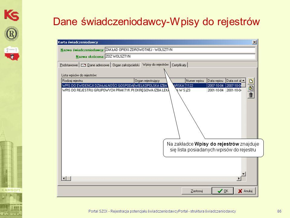 Dane świadczeniodawcy-Wpisy do rejestrów