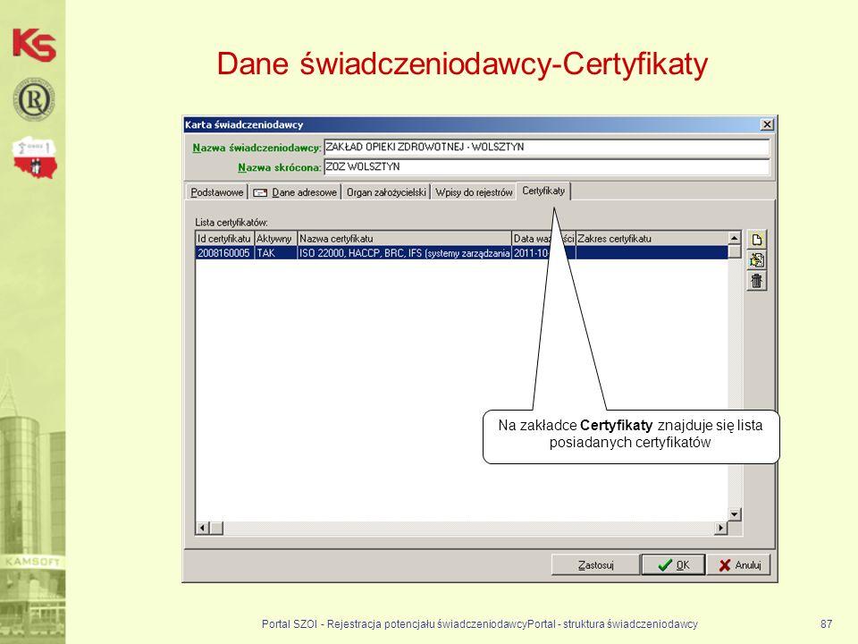 Dane świadczeniodawcy-Certyfikaty