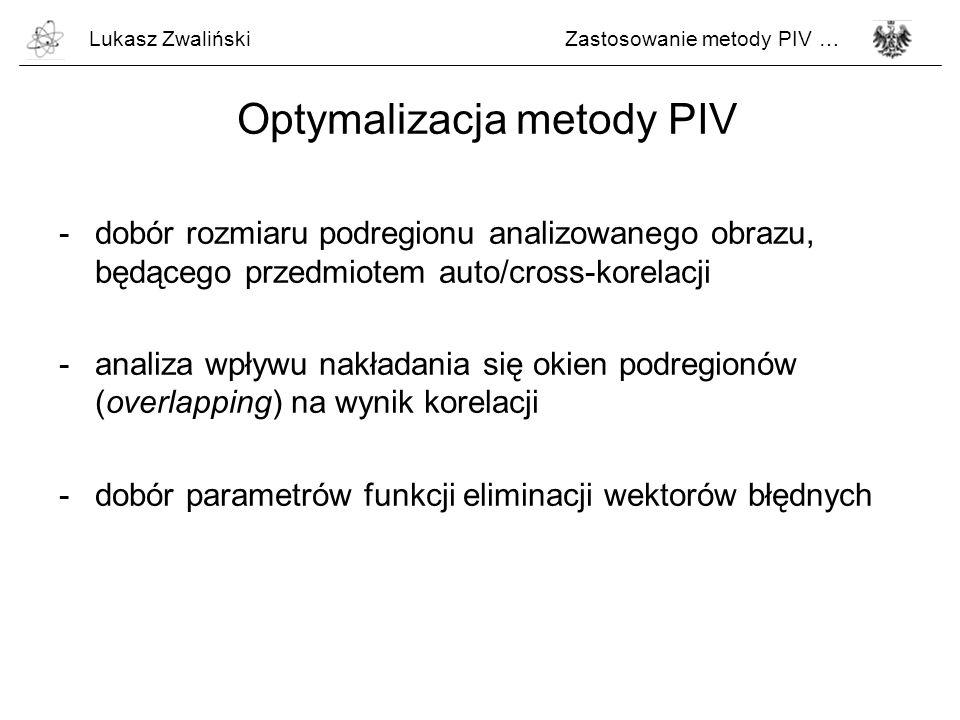 Optymalizacja metody PIV