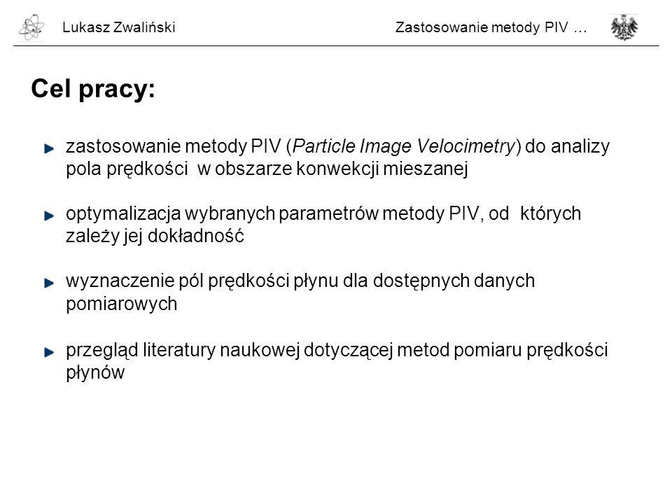 Lukasz Zwaliński Zastosowanie metody PIV … Cel pracy: zastosowanie metody PIV (Particle Image Velocimetry) do analizy.