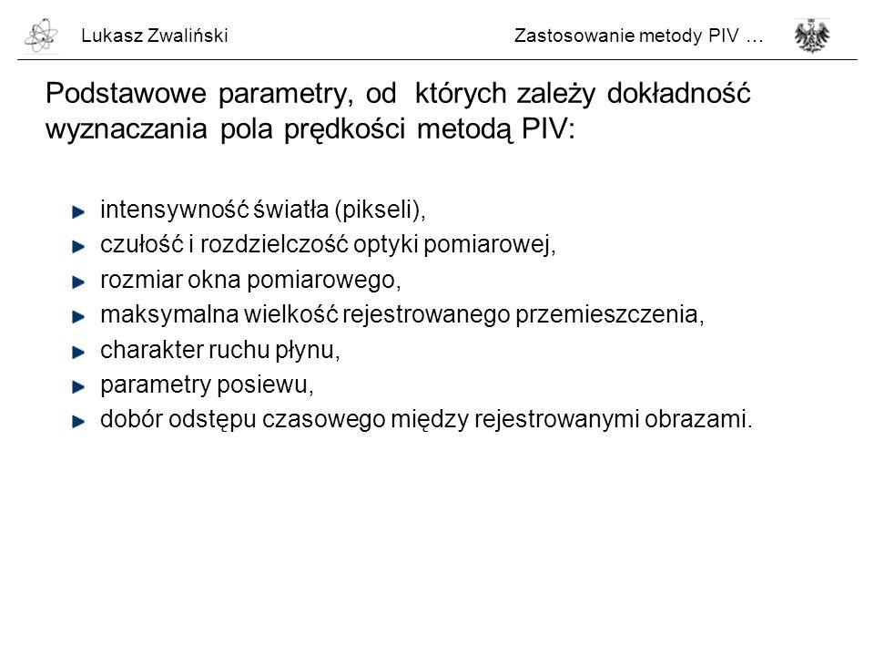 Lukasz ZwalińskiZastosowanie metody PIV … Podstawowe parametry, od których zależy dokładność wyznaczania pola prędkości metodą PIV: