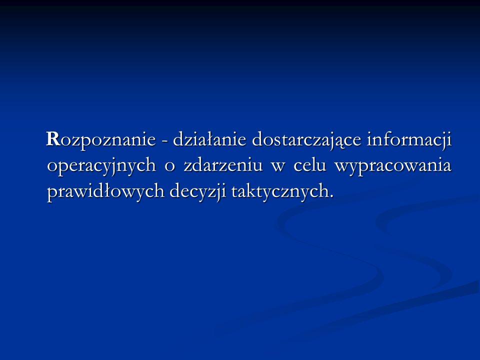 Rozpoznanie - działanie dostarczające informacji operacyjnych o zdarzeniu w celu wypracowania prawidłowych decyzji taktycznych.
