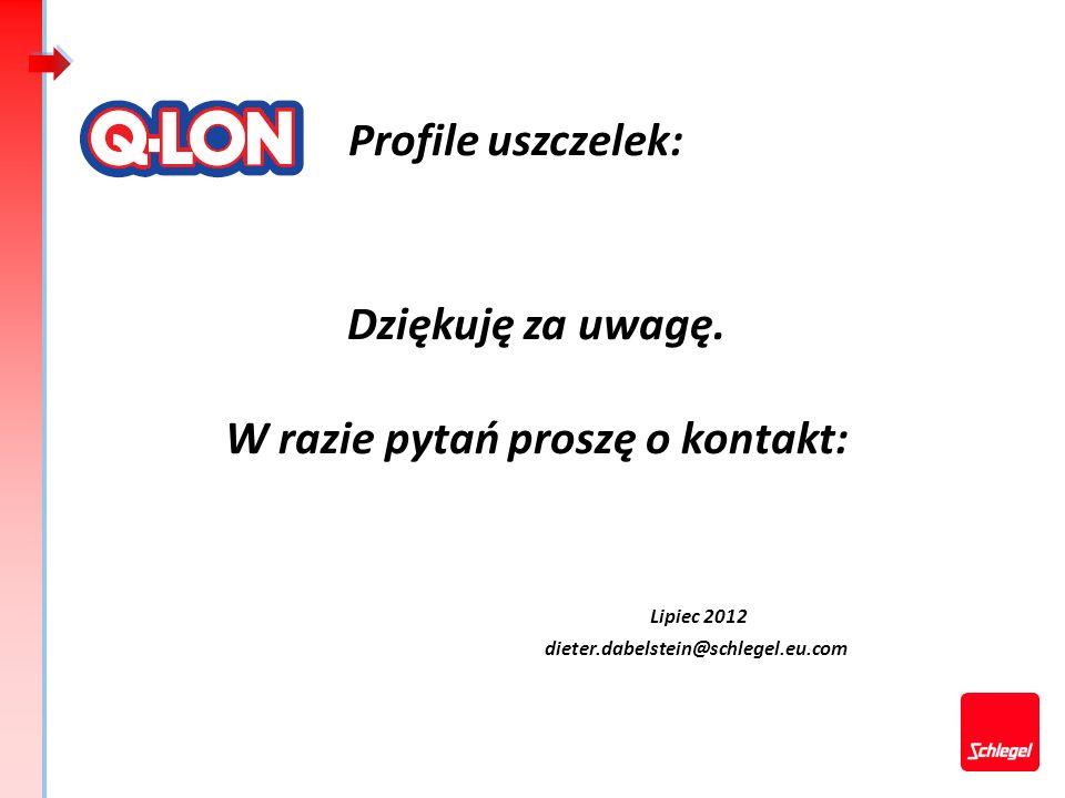 Profile uszczelek: Dziękuję za uwagę. W razie pytań proszę o kontakt: Lipiec 2012 dieter.dabelstein@schlegel.eu.com.