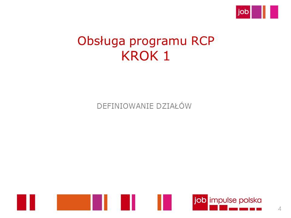 Obsługa programu RCP KROK 1