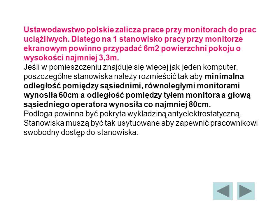Ustawodawstwo polskie zalicza prace przy monitorach do prac uciążliwych. Dlatego na 1 stanowisko pracy przy monitorze ekranowym powinno przypadać 6m2 powierzchni pokoju o wysokości najmniej 3,3m.