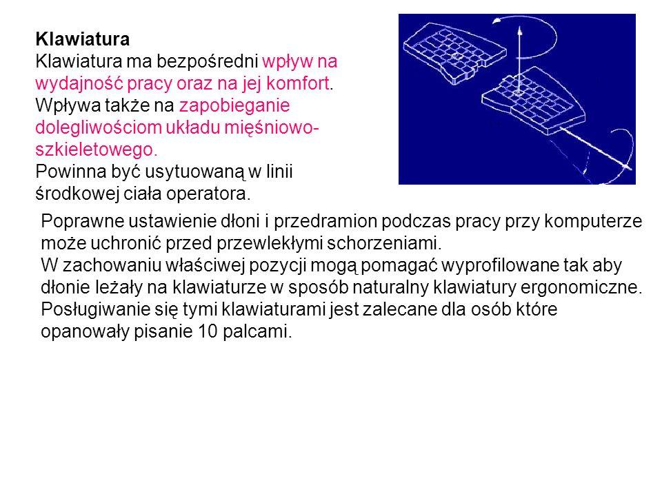 Klawiatura Klawiatura ma bezpośredni wpływ na wydajność pracy oraz na jej komfort.