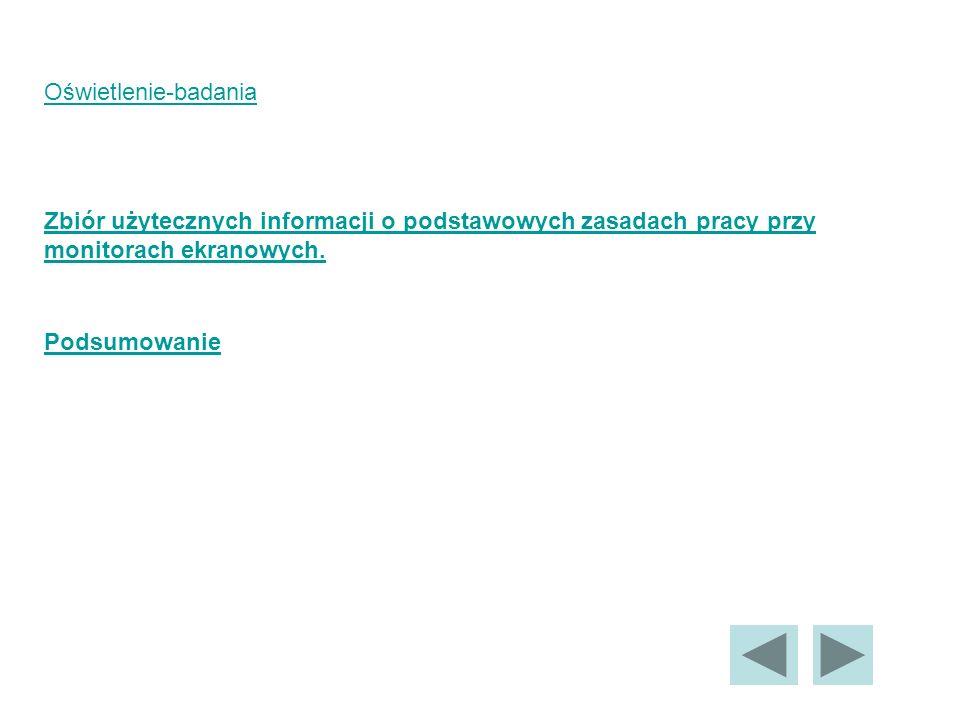 Oświetlenie-badania Zbiór użytecznych informacji o podstawowych zasadach pracy przy. monitorach ekranowych.