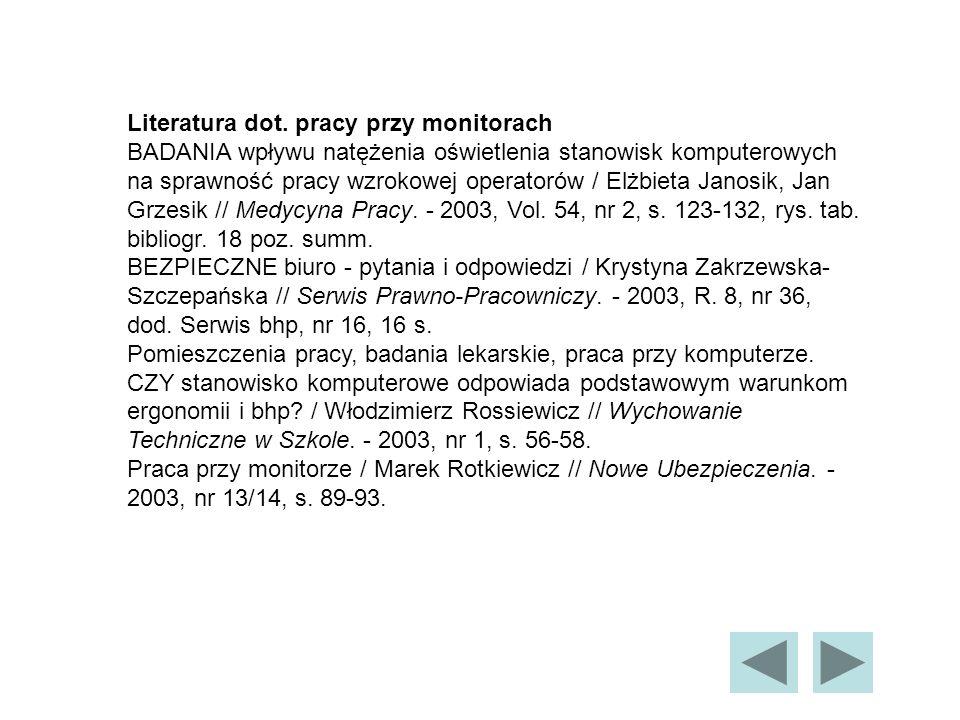 Literatura dot. pracy przy monitorach