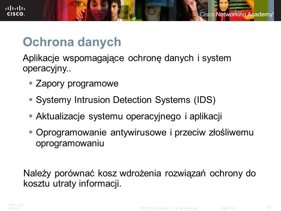 Ochrona danychAplikacje wspomagające ochronę danych i system operacyjny.. Zapory programowe. Systemy Intrusion Detection Systems (IDS)