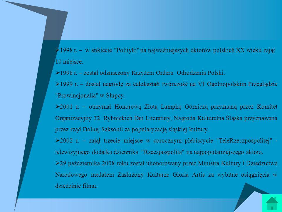 1998 r. – w ankiecie Polityki na najważniejszych aktorów polskich XX wieku zajął 10 miejsce.