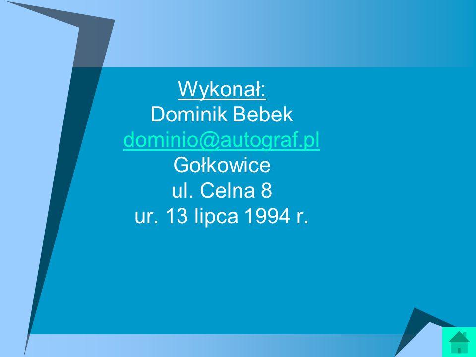 Wykonał: Dominik Bebek dominio@autograf. pl Gołkowice ul. Celna 8 ur