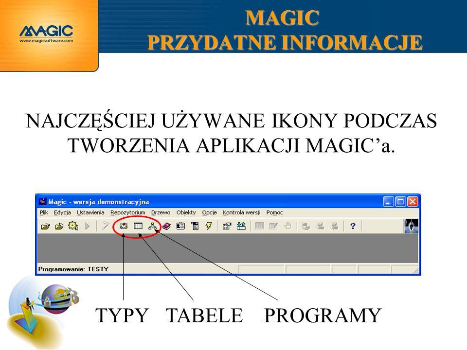 MAGIC PRZYDATNE INFORMACJE