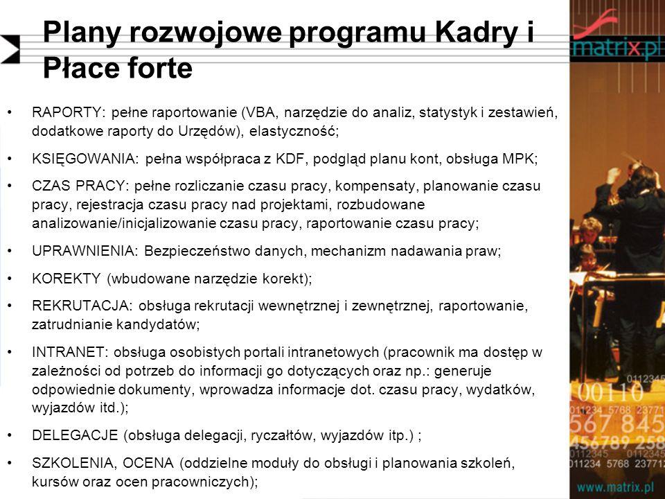 Plany rozwojowe programu Kadry i Płace forte