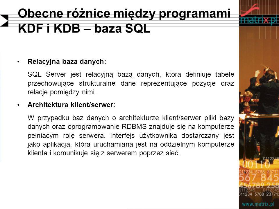 Obecne różnice między programami KDF i KDB – baza SQL