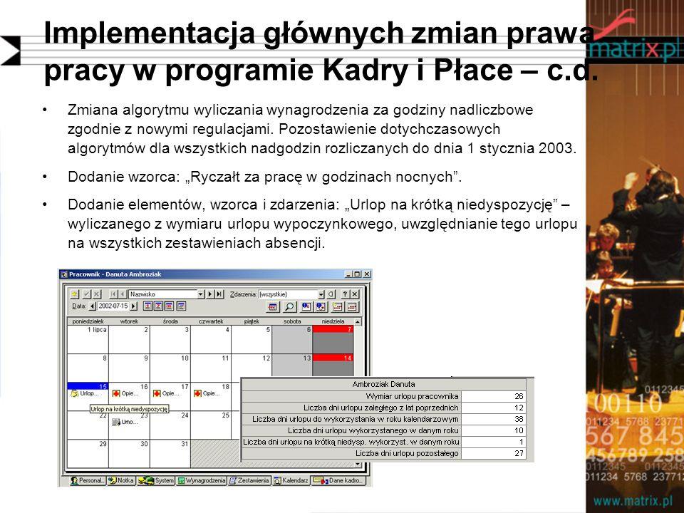 Implementacja głównych zmian prawa pracy w programie Kadry i Płace – c