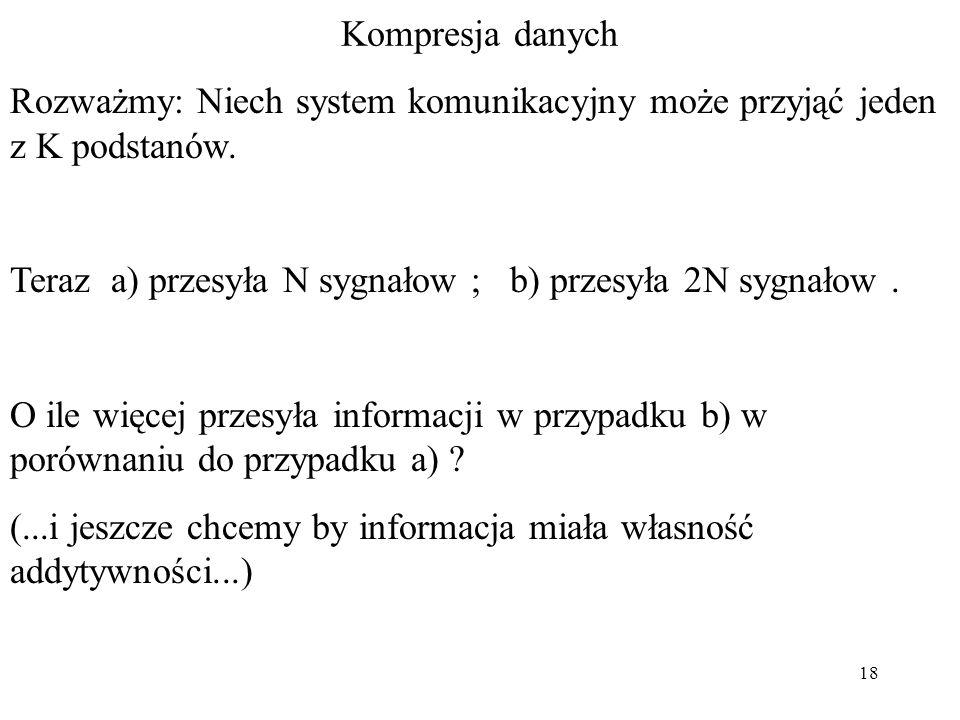 Rozważmy: Niech system komunikacyjny może przyjąć jeden z K podstanów.