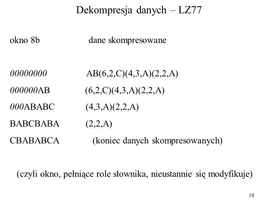 Dekompresja danych – LZ77