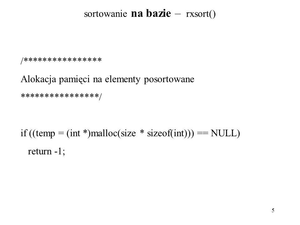 sortowanie na bazie – rxsort()