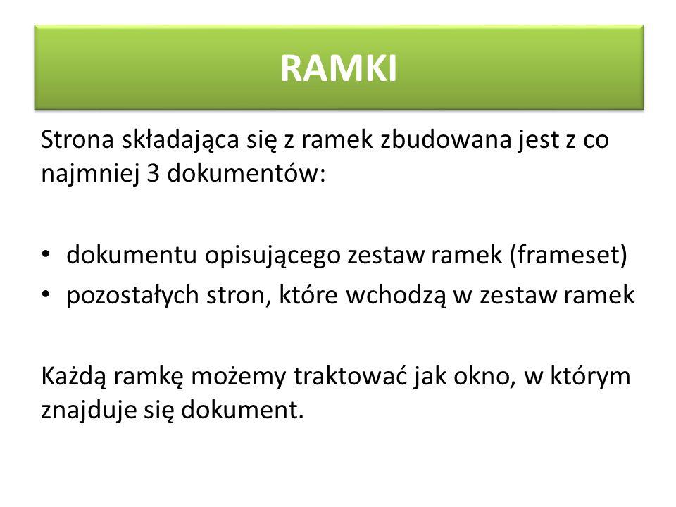 RAMKI Strona składająca się z ramek zbudowana jest z co najmniej 3 dokumentów: dokumentu opisującego zestaw ramek (frameset)