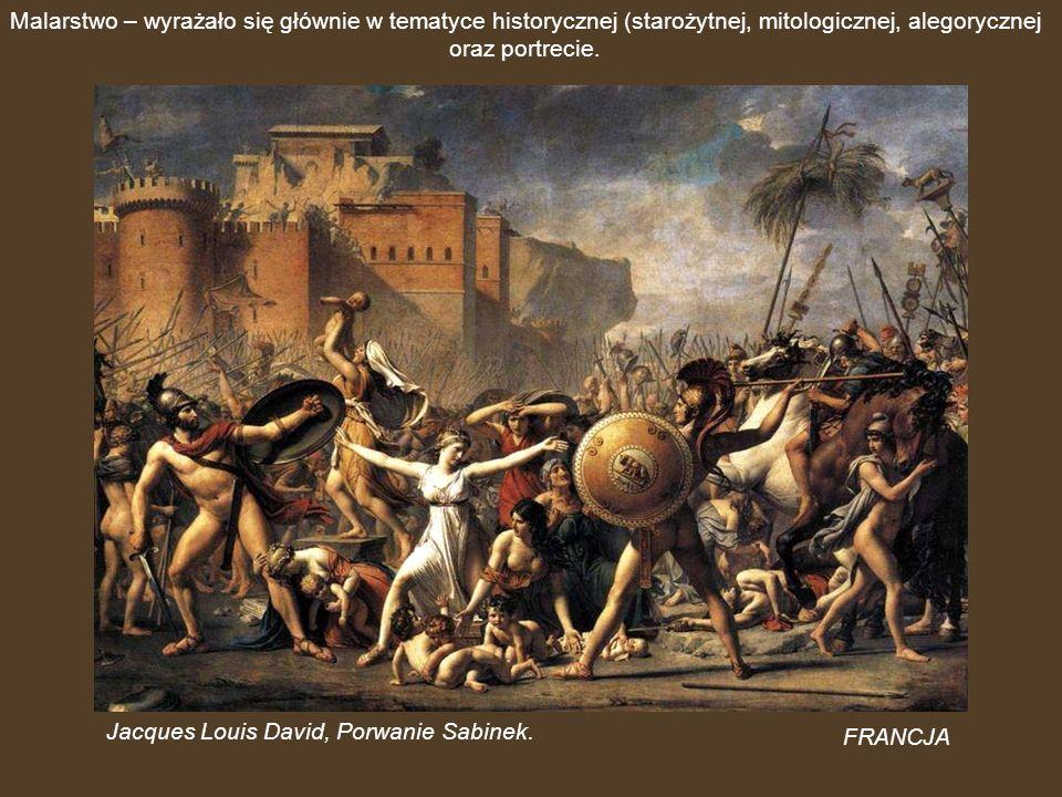 Malarstwo – wyrażało się głównie w tematyce historycznej (starożytnej, mitologicznej, alegorycznej oraz portrecie.