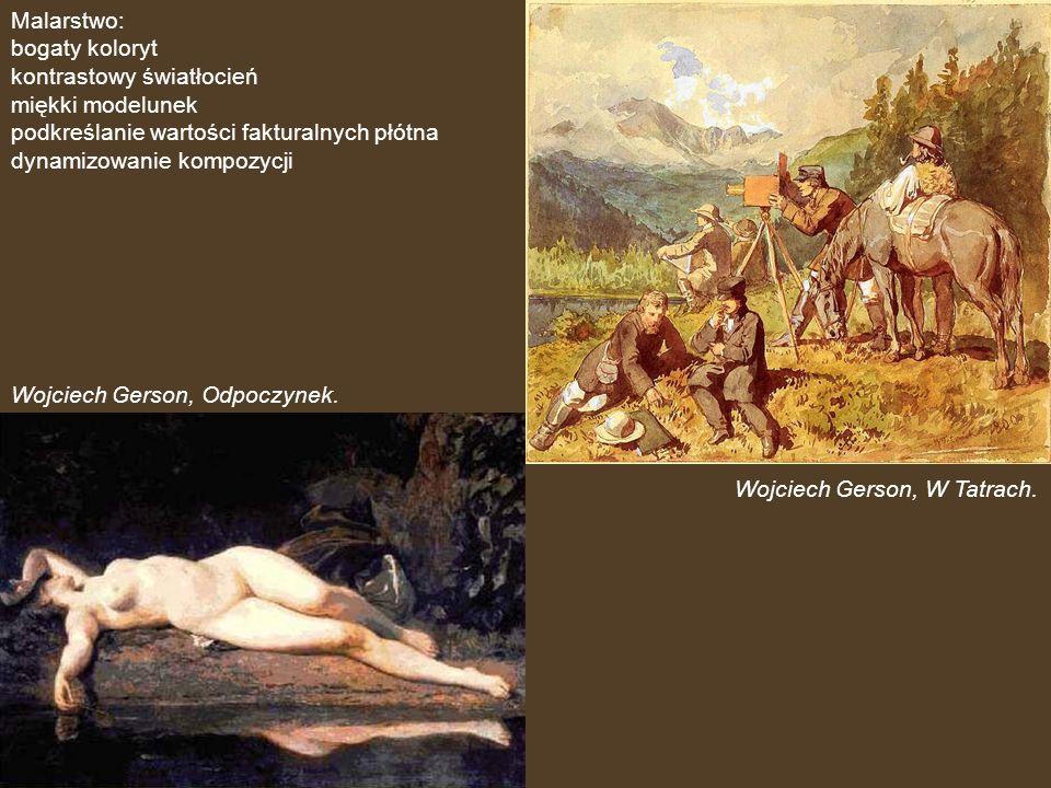 Malarstwo: bogaty koloryt. kontrastowy światłocień. miękki modelunek. podkreślanie wartości fakturalnych płótna.