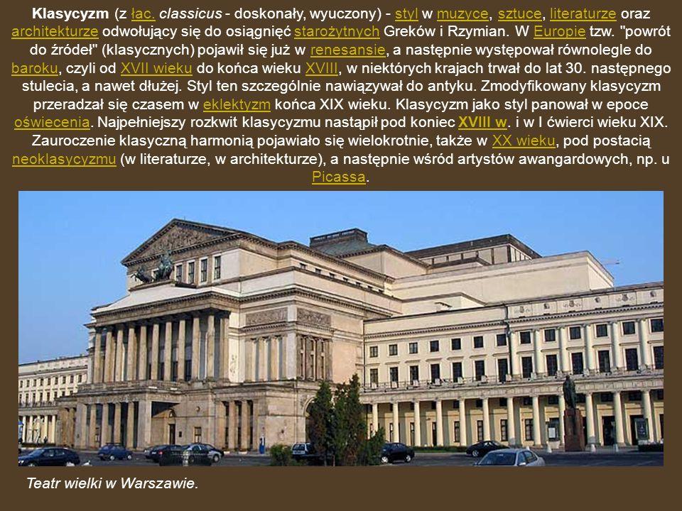 Klasycyzm (z łac. classicus - doskonały, wyuczony) - styl w muzyce, sztuce, literaturze oraz architekturze odwołujący się do osiągnięć starożytnych Greków i Rzymian. W Europie tzw. powrót do źródeł (klasycznych) pojawił się już w renesansie, a następnie występował równolegle do baroku, czyli od XVII wieku do końca wieku XVIII, w niektórych krajach trwał do lat 30. następnego stulecia, a nawet dłużej. Styl ten szczególnie nawiązywał do antyku. Zmodyfikowany klasycyzm przeradzał się czasem w eklektyzm końca XIX wieku. Klasycyzm jako styl panował w epoce oświecenia. Najpełniejszy rozkwit klasycyzmu nastąpił pod koniec XVIII w. i w I ćwierci wieku XIX. Zauroczenie klasyczną harmonią pojawiało się wielokrotnie, także w XX wieku, pod postacią neoklasycyzmu (w literaturze, w architekturze), a następnie wśród artystów awangardowych, np. u Picassa.