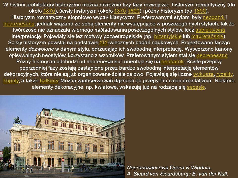 W historii architektury historyzmu można rozróżnić trzy fazy rozwojowe: historyzm romantyczny (do około 1870), ścisły historyzm (około 1870-1890) i późny historyzm (po 1890).