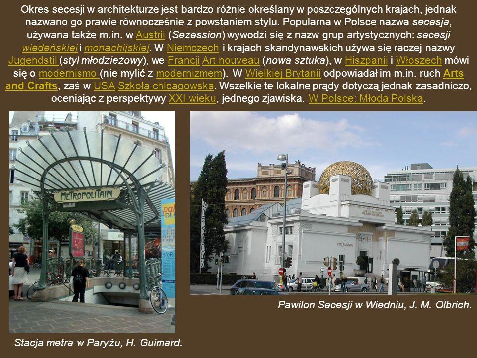 Okres secesji w architekturze jest bardzo różnie określany w poszczególnych krajach, jednak nazwano go prawie równocześnie z powstaniem stylu. Popularna w Polsce nazwa secesja, używana także m.in. w Austrii (Sezession) wywodzi się z nazw grup artystycznych: secesji wiedeńskiej i monachijskiej. W Niemczech i krajach skandynawskich używa się raczej nazwy Jugendstil (styl młodzieżowy), we Francji Art nouveau (nowa sztuka), w Hiszpanii i Włoszech mówi się o modernismo (nie mylić z modernizmem). W Wielkiej Brytanii odpowiadał im m.in. ruch Arts and Crafts, zaś w USA Szkoła chicagowska. Wszelkie te lokalne prądy dotyczą jednak zasadniczo, oceniając z perspektywy XXI wieku, jednego zjawiska. W Polsce: Młoda Polska.