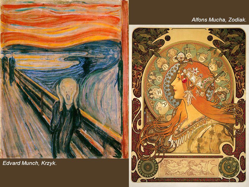 Alfons Mucha, Zodiak. Edvard Munch, Krzyk.