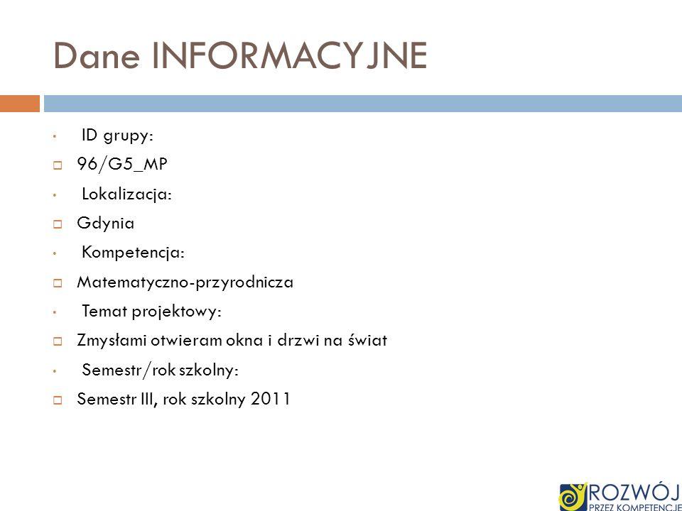 Dane INFORMACYJNE ID grupy: 96/G5_MP Lokalizacja: Gdynia Kompetencja: