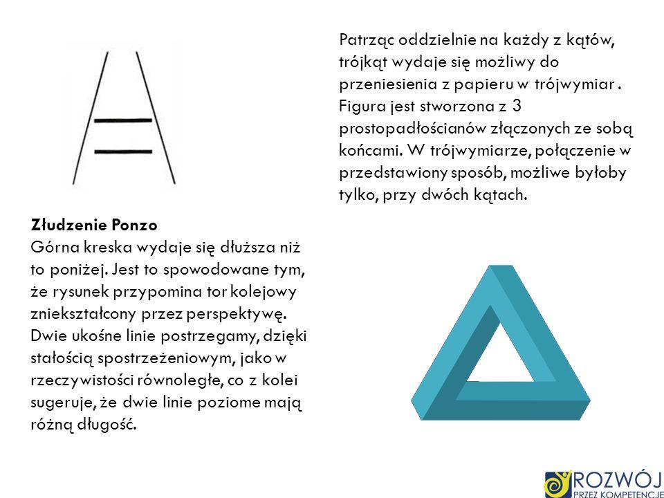 Patrząc oddzielnie na każdy z kątów, trójkąt wydaje się możliwy do przeniesienia z papieru w trójwymiar . Figura jest stworzona z 3 prostopadłościanów złączonych ze sobą końcami. W trójwymiarze, połączenie w przedstawiony sposób, możliwe byłoby tylko, przy dwóch kątach.