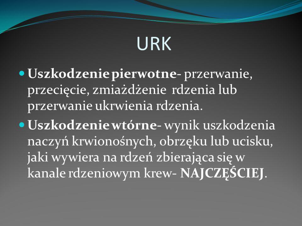 URK Uszkodzenie pierwotne- przerwanie, przecięcie, zmiażdżenie rdzenia lub przerwanie ukrwienia rdzenia.