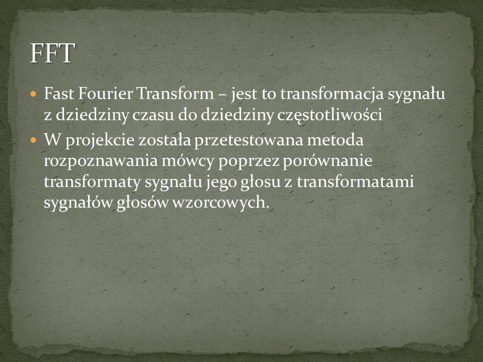 FFT Fast Fourier Transform – jest to transformacja sygnału z dziedziny czasu do dziedziny częstotliwości.