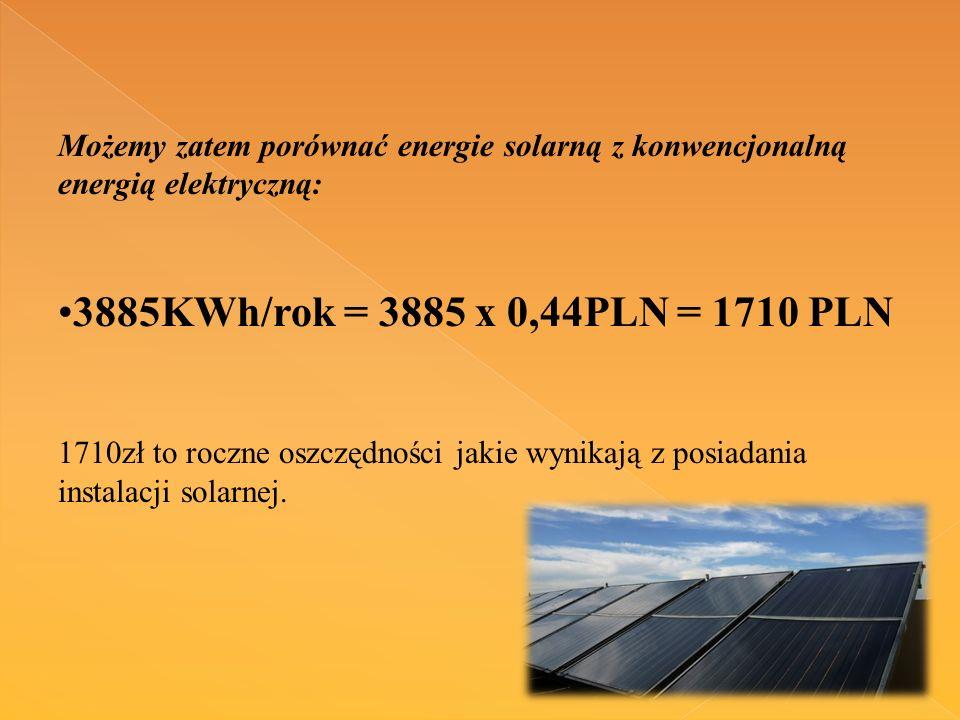 Możemy zatem porównać energie solarną z konwencjonalną energią elektryczną:
