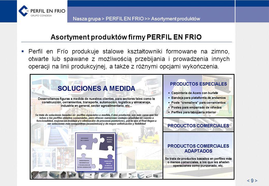 Asortyment produktów firmy PERFIL EN FRIO