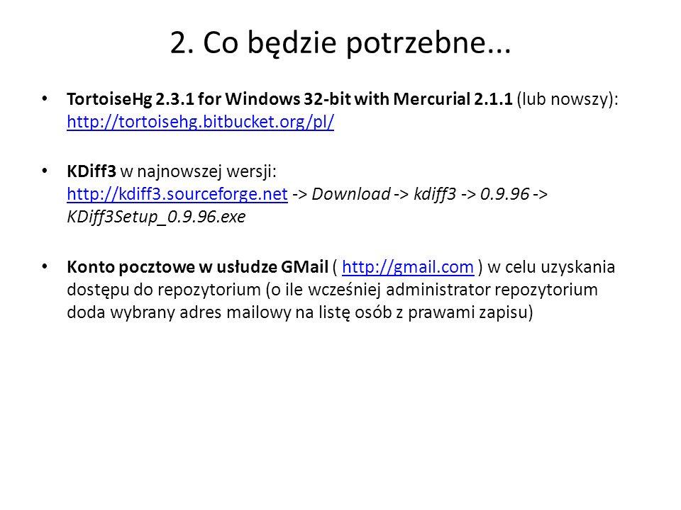 2. Co będzie potrzebne... TortoiseHg 2.3.1 for Windows 32-bit with Mercurial 2.1.1 (lub nowszy): http://tortoisehg.bitbucket.org/pl/