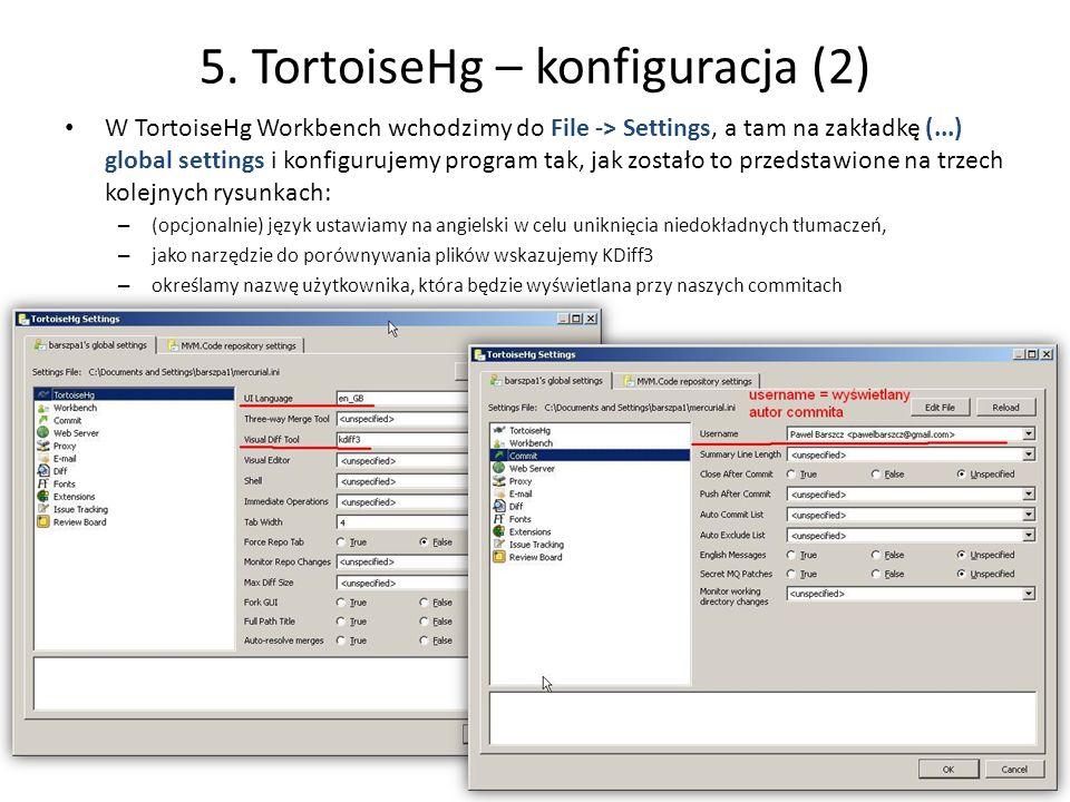 5. TortoiseHg – konfiguracja (2)