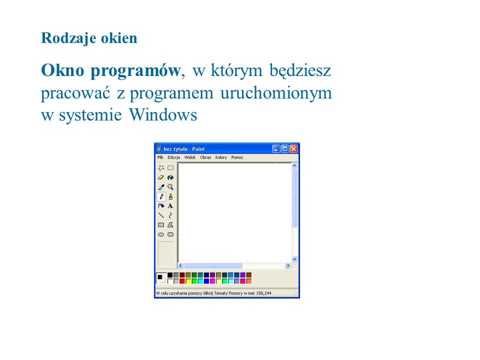 Rodzaje okien Okno programów, w którym będziesz pracować z programem uruchomionym w systemie Windows.