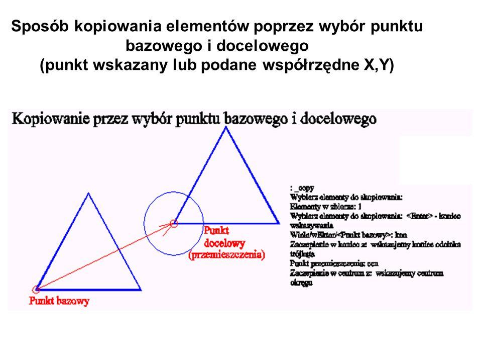 Sposób kopiowania elementów poprzez wybór punktu bazowego i docelowego (punkt wskazany lub podane współrzędne X,Y)