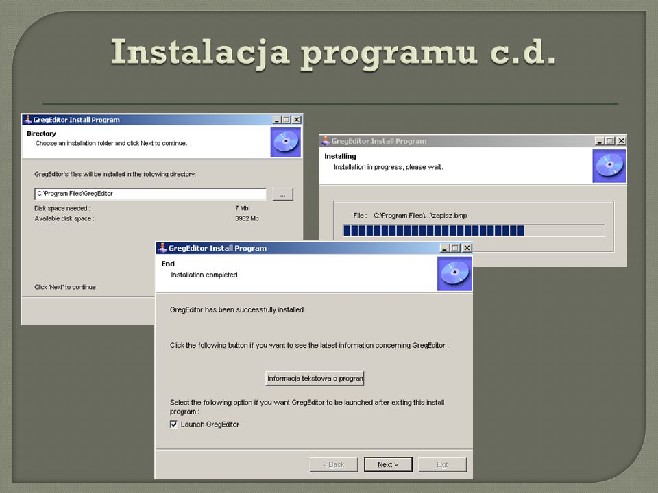 Instalacja programu c.d.