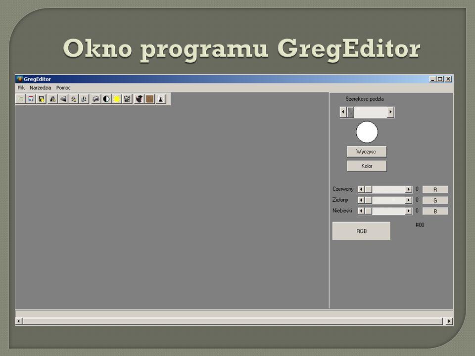 Okno programu GregEditor