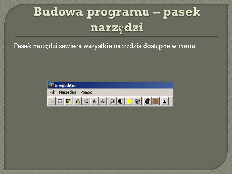 Budowa programu – pasek narzędzi