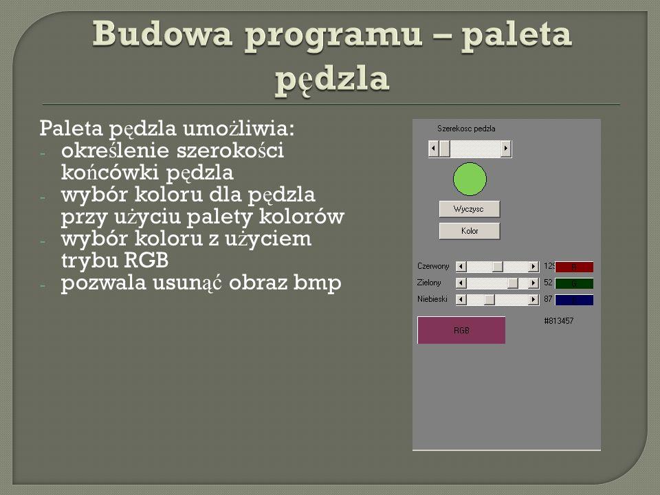 Budowa programu – paleta pędzla