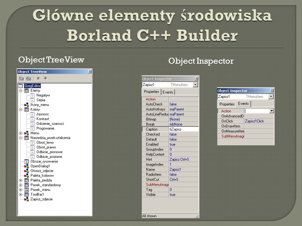 Główne elementy środowiska Borland C++ Builder