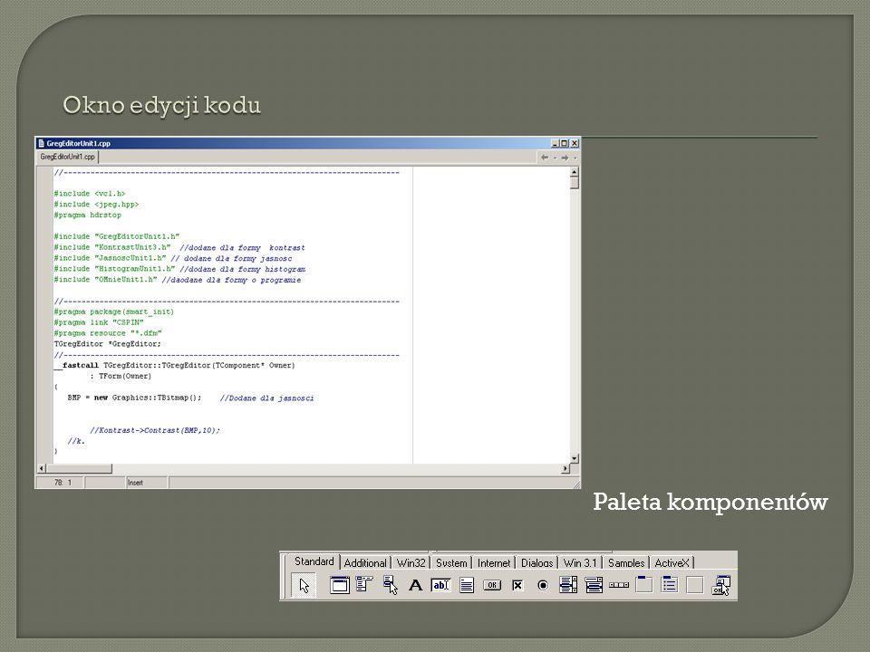 Okno edycji kodu Paleta komponentów