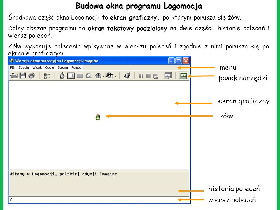 Budowa okna programu Logomocja