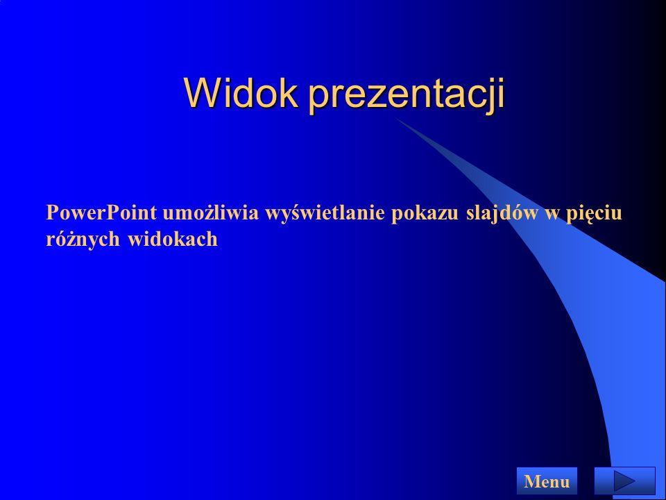 Widok prezentacji PowerPoint umożliwia wyświetlanie pokazu slajdów w pięciu różnych widokach Menu